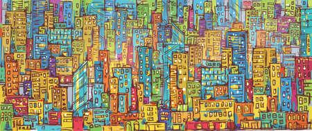 Cityscape hand drawn, vector illustration