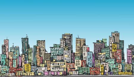city scene: City scene. Hand drawn vector illustration Illustration