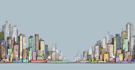 panorama city: City panorama, hand drawn cityscape drawing illustration