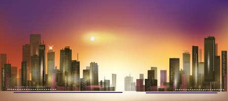 reflection of life: Modern night city skyline at sunset Illustration