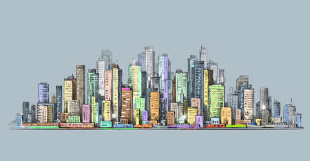 City skyline panorama, hand drawn cityscape, drawing architecture illustration
