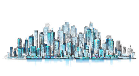 City panorama, hand drawn cityscape, drawing illustration Vectores