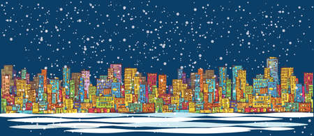 City skyline panorama, winter snow landscape at night, hand drawn cityscape, drawing architecture illustration Illustration