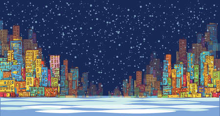 landscape architecture: City skyline panorama, winter snow landscape at night, hand drawn cityscape, drawing architecture illustration Illustration