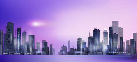 Modern night city skyline in moonlight