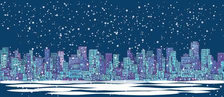 landscape architecture: City skyline panorama, winter snow landscape at night, hand drawn cityscape, drawing architecture illustration Illustration