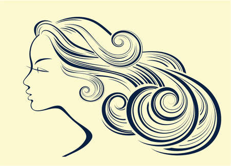hair style fashion: Woman hair style silhouette. Female fashion profile. Illustration