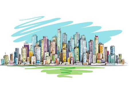 Skyline della città disegnata a mano, illustrazione vettoriale Vettoriali