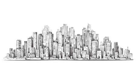 Horizonte de la ciudad dibujado a mano, ilustración vectorial