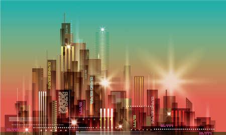 sunset city: Modern night city skyline at sunset Illustration