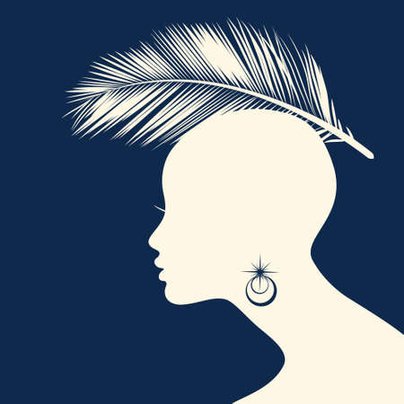 beauty girls: Woman Hair style Silhouette vector Illustration