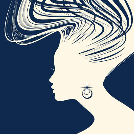 glamour model: Woman Hair style Silhouette vector Illustration