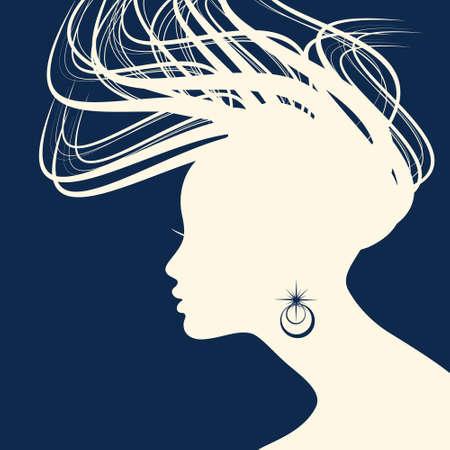 hair style fashion: Woman Hair style Silhouette vector Illustration