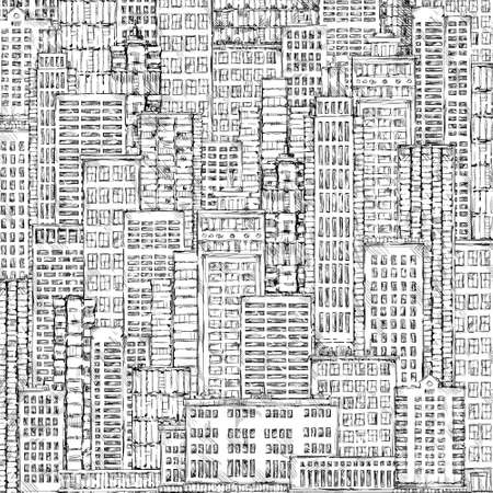 megapolis: Hand drawn big city background. Vintage illustration with architecture, skyscrapers, megapolis, buildings, downtown.