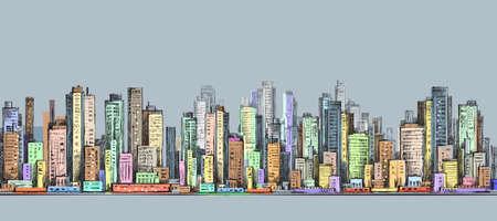 Panorama de la ville, paysage urbain dessiné à la main, illustration de dessin vectoriel