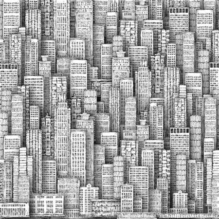 reflection of life: Cityscape Building Line art background