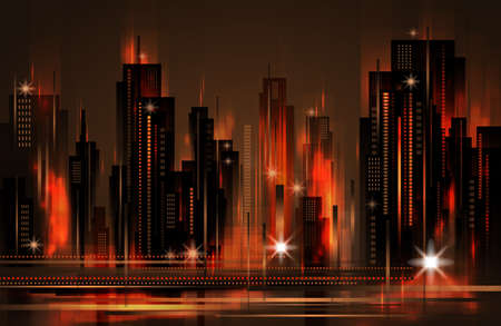 Night city, vector illustration