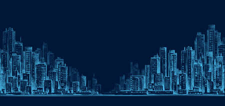 city at night: City skyline panorama at night, hand drawn cityscape Illustration