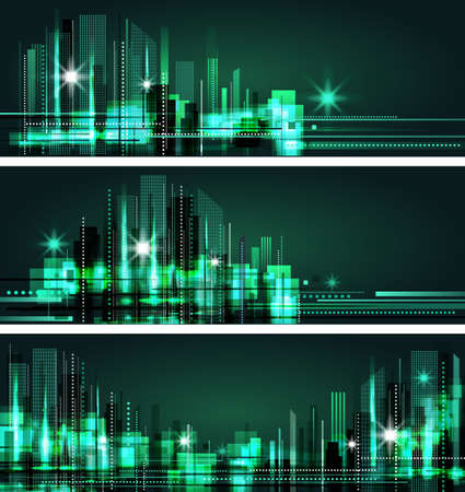 midtown: Night city background, with glowing lights, vector illustration