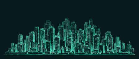 City skyline panorama at night, hand drawn cityscape Illustration