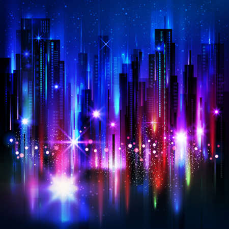 Night city background, with glowing lights, vector illustration Фото со стока - 72174418
