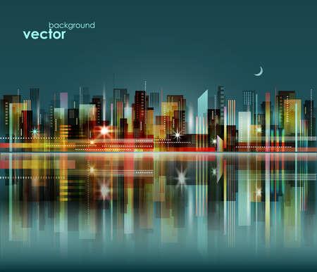 Modern night city skyline, vector cityscape 일러스트