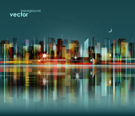 Modern night city skyline, vector cityscape Vettoriali
