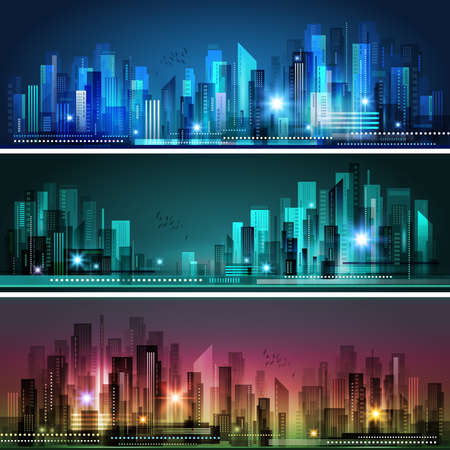 Night city skyline, vector illustration Illustration