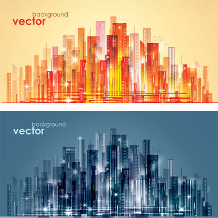 Abstract modern night City skyline, vector illustration