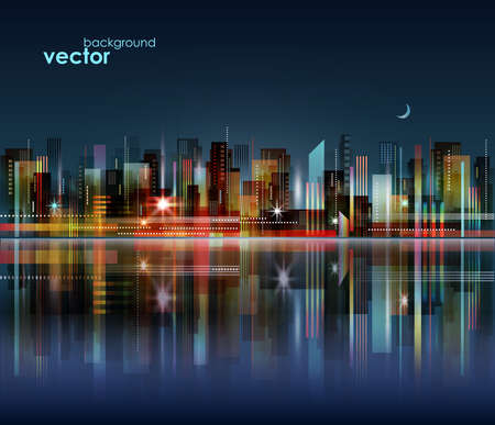 Modern night city skyline, with reflection on water surface, vector cityscape Illustration
