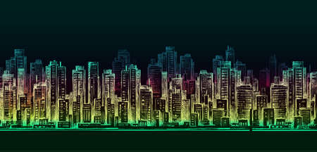 town square: City skyline panorama at night, hand drawn cityscape Illustration
