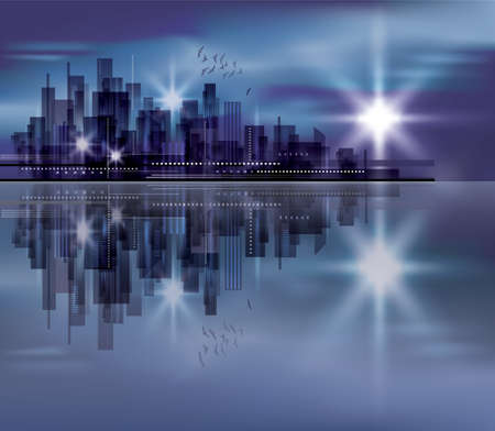 Night city background Illustration