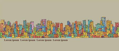 City panorama, hand drawn cityscape, vector drawing illustration Illustration