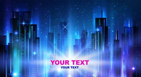 Night city background, with glowing lights, vector illustration