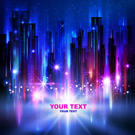 city lights: Night city background, with glowing lights, vector illustration