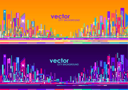 Futuristic abstract City skylines, at day and night