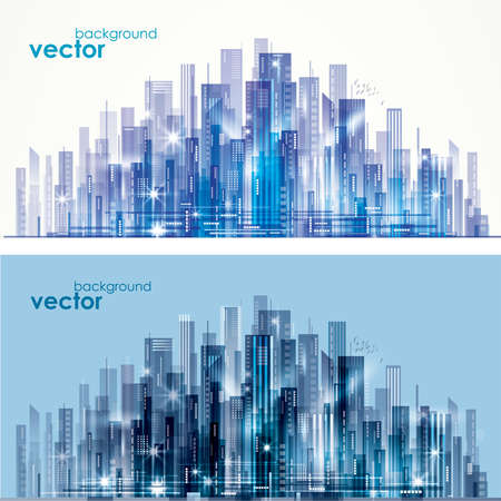 Abstract modern, futuristic, night and day City skyline, vector illustration