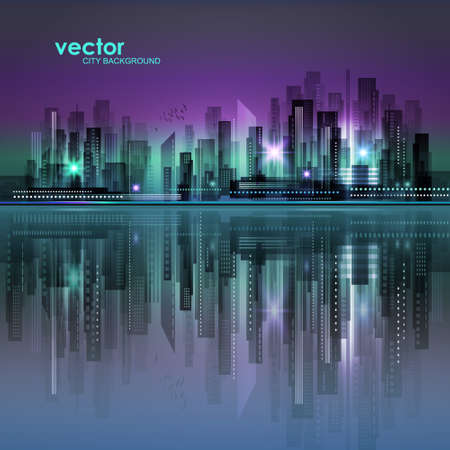Abstract night background with silhouette of city. Illustration