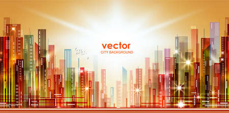 Colorful Night city background, with glowing lights, vector illustration Illustration