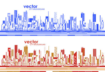 Futuristic city skylines at day and night, vector illustration.