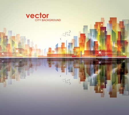 Abstract modern, futuristic, night City skyline vector illustration Ilustracja