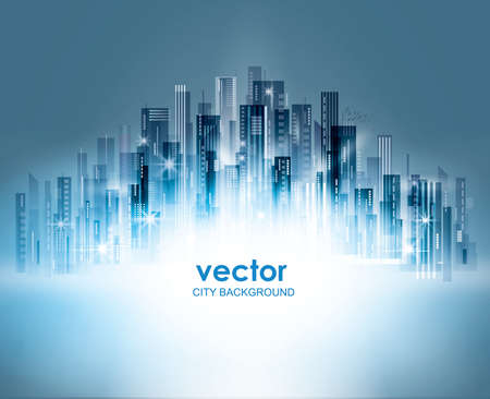 Colorful Night city background, with glowing lights, vector illustration Ilustracja