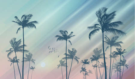Silhouette of tropical palm trees at sunset or sunrise, with cloudy sky. Ilustracja