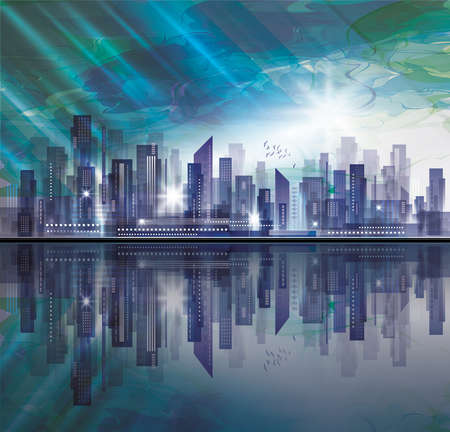 Night city skyline with reflection in water. Vector illustration. Illustration
