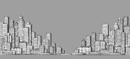 Cityscape sketch. Hand drawn illustration