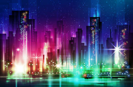 Illuminated colorful Night city. Vector illustration.