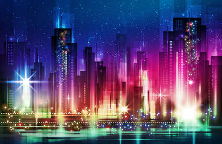 Night city illustration with neon glow and vivid colors.