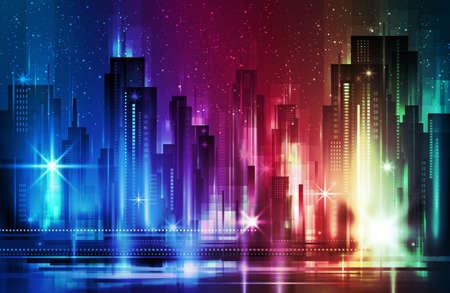 Colorful illuminated Night city background. Illustration