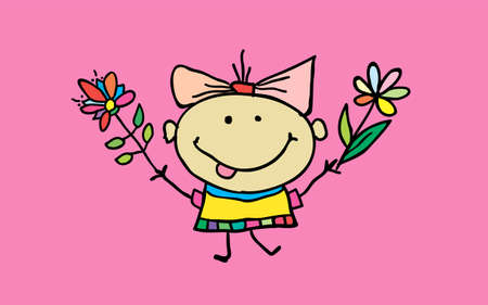 Cute cartoon girl with flowers. Children illustration. T-shirt graphic. cartoon character. vector