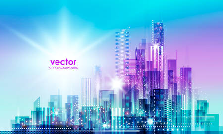 City skyline silhouette at sunset. Vector illustration